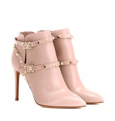 Valentino - Rockstud leather ankle boots - Valentino presents the latest… Beige Ankle Boots, Short Heel Boots, Shoes Boots Ankle, Leather Heeled Boots, Pink Boots, Ankle Booties, Bootie Boots, Shoes Heels, Prom Shoes