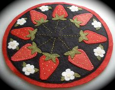Strawberry Wool Felt Candle Mat by Little Gray Dog, via Flickr