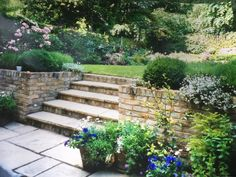 This was a walled garden I designed for a young family in Clapham, south-west London. We extended the sunken patio further out into the garden to give more entertaining space. This also let in more light to the basement area - expensive but worth every pe Sunken Patio, Terraced Backyard, Sunken Garden, Walled Garden, Big Garden, Landscaping Retaining Walls, Outdoor Landscaping, Front Yard Landscaping, Backyard Fireplace