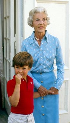 Crown Prince Frederik of Denmark with his grandmother Queen Ingrid of Denmark.