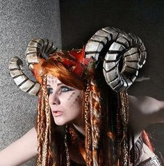 I found 'RESERVED Horned headdress,  Leather leaves, Horns, fairy, fae, faun, head dress, sca, larp, lrp, cosplay,  costume, Faery, devil' on Wish, check it out!