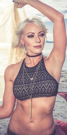 Blondie Bikini features laser-cut lace and a supportive, flattering, high neck halter top. BalticBorn.com
