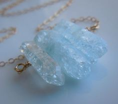 Raw Crystal Quartz Necklace in Blue : 3 Stone Point Pendant in Gold