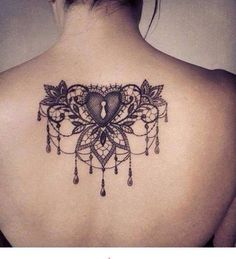 Heart jewel back tattoo