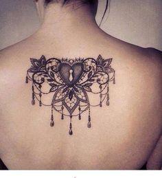 Heart jewel back tattoo