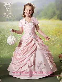 FLOWER GIRL - Mary's Bridal (Cupids Collection): A-line, taffeta ball gown with tank/v-neckline, pleated bodice and metallic embroidery with lace-up back and bolero included. (STYLE: F13-F232) Suggested Retail Price:  $223 ~ $268