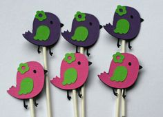 12 Colorful Birdie Bird Cupcake Toppers by AngiesDesignz on Etsy, $10.00