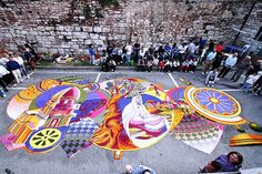 """Infiorata Spello (these are """"carpets"""" made from flowers at a festival every spring)"""