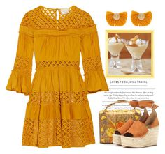 """""""Butter Scotch"""" by conch-lady ❤ liked on Polyvore featuring Cinq à Sept, Katerina Makriyianni, Chloé, butterscotch and chloewedges"""