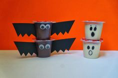Home Confetti: BAT AND GHOST HALLOWEEN PUDDING CUPS- perfect for class parties since the snacks have to be prepackaged
