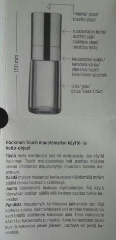 Hackman Touch maustemylly pippurimylly käyttöohje hoito-ohje ohje