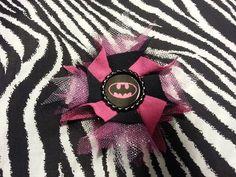 Handmade Flower Pink Black Batman Girl Hair Bow Clip Cosplay Comic Super Heroes  #Handmade