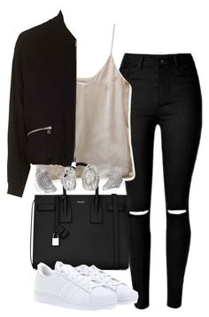 """""""Untitled #4212"""" by maddie1128 ❤ liked on Polyvore featuring Yves Saint Laurent, adidas and Topshop"""