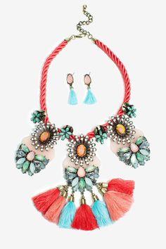 Aisha Fabric Tassel Necklace