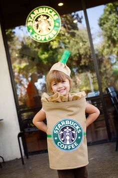 Homemade Starbucks Frappuccino Halloween Costume. I don't have a daughter yet...but this will be her Halloween costume. :)
