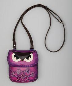 Purple Owl Leather Purse by Sunflower