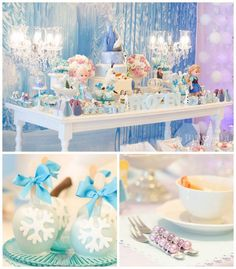 Frozen themed birthday party via Kara's Party Ideas//POPcakes en cucharitas ; Frozen Themed Birthday Party, 6th Birthday Parties, 3rd Birthday, Elsa Birthday, Disney Birthday, Birthday Ideas, Anna Und Elsa, Party Deco, Disney Frozen Party