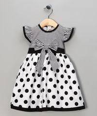 Black Polka Dot Stripe Dress - Toddler & Girls