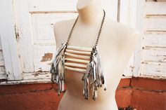 Tribal Breastplate Necklace - Modern Leather Fringe and Bone Large Native American Inspired Necklace - Modern Pocahontas Collection. $185.00, via Etsy.