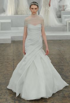 Monique Lhuillier Spring 2015 Wedding Dresses | TheKnot.com | Pastel Light Blue Strapless Silk Organza Fit To Flare Silhouette Wedding Gown, Showcasing Draped & Pleated Bodice With Semi Sweetheart Neckline, Full Flare Skirt... Shown With Coordinating Silk Tulle Wrap/Topper^^^^