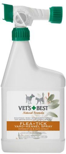 $24.78 Vets Best Natural Flea + Tick Yard & Kennel Spray 32oz - Fleas and ticks no more! Our powerful, natural formula of Peppermint Oil and Clove Extract safely kills ticks and fleas - and flea eggs - by contact in the yard and kennel. So pets can run, jump and play outdoors protected from flea and tick misery. Safe around dogs and cats 12 weeks or older. This 32 fl. oz. concentrated spray treat ...