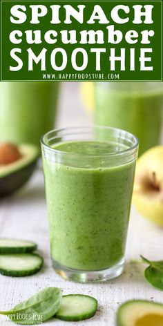Healthy Spinach Cucumber Smoothie Recipe. #breakfast #smoothie #breakfastrecipes #smoothies #spinach #cucumber #recipeoftheday #recipeideas #healthyrecipes #healthyeating #cleaneating via @happyfoodstube