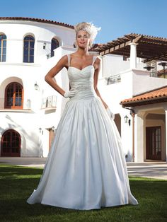 Sweetheart dropped waist taffeta wedding dress