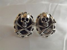 Pirate Skull and Cross Bones Cufflinks Steampunk by AGothShop, $15.00