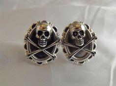 Pirate Skull and Cross Bones Cufflinks Steampunk by AGothShop, $15.00