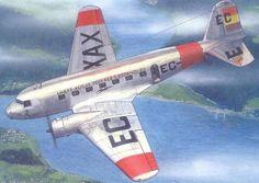 Douglas DC-2, de la Aviación republicana durante la GCE. Este aparato, un avión de transporte civil reconvertido en bombardero y con matrícula civil EC-XAX, sobrevoló la ciudad de Ferrol con el objetivo (no conseguido) de bombardear el Arsenal militar de Ferrol.