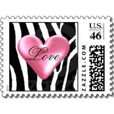 Zebra Pattern with Heart Postage