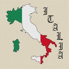 Italy Map & Flag Cross Stitch Kit