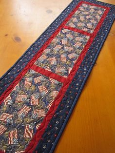 Handmade Quilted Table Runner Patriotic Flags by PatchworkMountain, $30.00