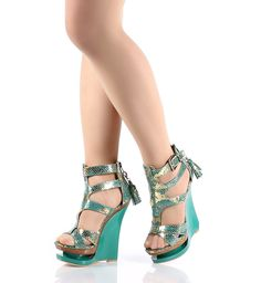 Turquoise .. Snake Print Platforms Wedges High Heels Womens Sandals Shoes Sz 7.5