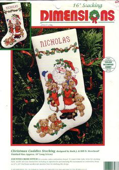 Gallery.ru / Фото #1 - 03 - peperina75 Santa Cross Stitch, Cross Stitch Christmas Stockings, Cross Stitch Stocking, Christmas Stocking Pattern, Cross Stitch Books, Xmas Stockings, Counted Cross Stitch Kits, Christmas Knitting, Christmas Cross