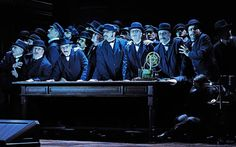 The choir performs on stage during a dress rehearsal for Richard Wagner's opera 'Der fliegende Hollaender' (The Flying Dutchman) at the opera house in Zurich, Switzerland