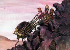 Pushing up the Cauldron  Concept Art for The Black Cauldron