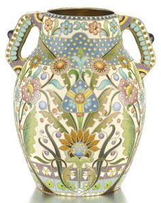 A silver-gilt and cloisonné enamel vase, Ovchinnikov, Moscow, 1899-1908 | lot | Sotheby's