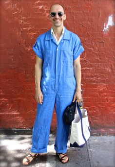 Blue linen coveralls | Male Pattern Boldness