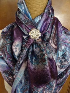 #910 - Shades of Lavender and Turquoise Floral Paisley  - $25