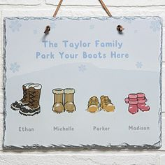 Personalized Winter Boots Wall Art Slate Plaque - Winter Home Decor. LOVE LOVE LOVE This! You can add a different pair/type of boots for each of your family members - adorable!!