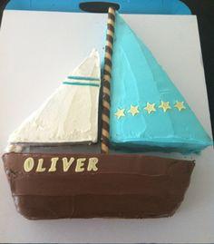 Sailboat and Fishing Birthday Cake mypigeonpair.com #Birthdaycake