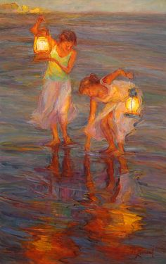 "As twilight appears, the reflections of my vintage lanterns creates the feeling of Peace. ""Peace"" 36 x 23, Oil on Board"