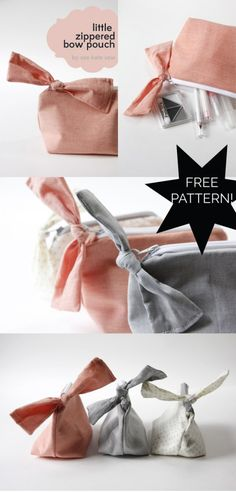 FREE PATTERN // zippered bow pouch with tutorial! Great for stuffing with treats as a cute gift // seekatesew.com