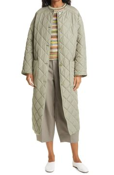 Free shipping and returns on Rodebjer Sandler Quilted Coat at Nordstrom.com. Made entirely of recycled polyester, this buttercream-yellow coat features big pockets and an easy silhouette that's diamond-quilted for a trend-forward look. Yellow Coat, Diamond Quilt, Twill Pants, Professional Look, Clothing Items, Duster Coat, Winter Jackets, Nordstrom, Stripes