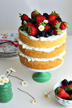 Sponge Cake con crema al mascarpone Victoria Cakes, Victoria Sponge Cake, Torte Cake, Cake & Co, Sweets Recipes, Cake Recipes, Desserts, Base Cake, Vanilla Sponge Cake