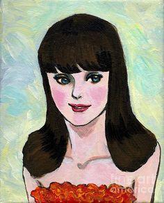 A Barbie-like Blue-eyed Girl , by Jingfen Hwu , acrylic painting, beautiful woman, black haired, #jingfenhwu