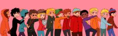 The South Park boys Kenny, Damien, Craig, Mole, Pip, Tweek, Kyle, Clyde, Fatass, Toke, Gregory, Butters and Stan