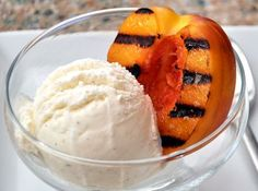 Grilled stone fruits (those with a pit) become soft and sweet; perfect for pairing with lavender ice cream.