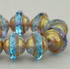 Saturn Beads - Saucer Beads - Czech Glass Beads - Aqua Blue Transparent with Antique Bronze - 8x10mm Beads - 10 Beads @SolanaKaiBeads on Etsy #SolanaKaiBeads #Beads #BeadStore